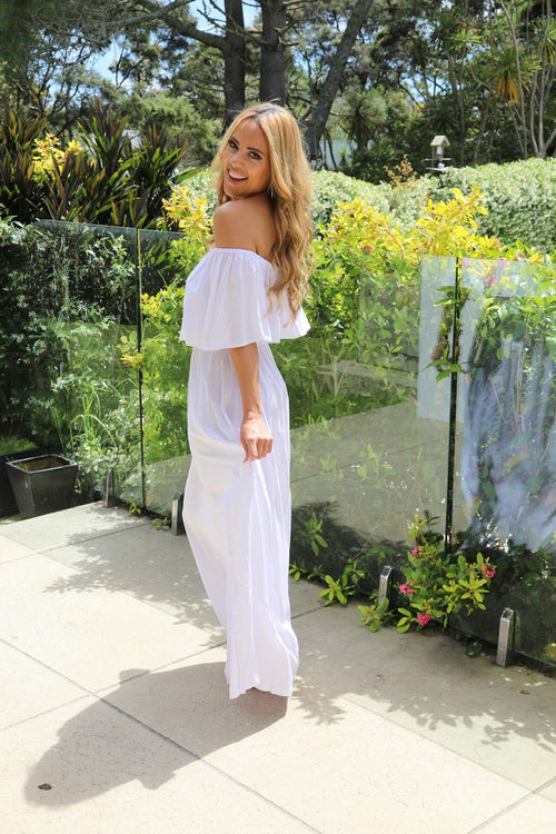 Tropical Frill Dress -  White