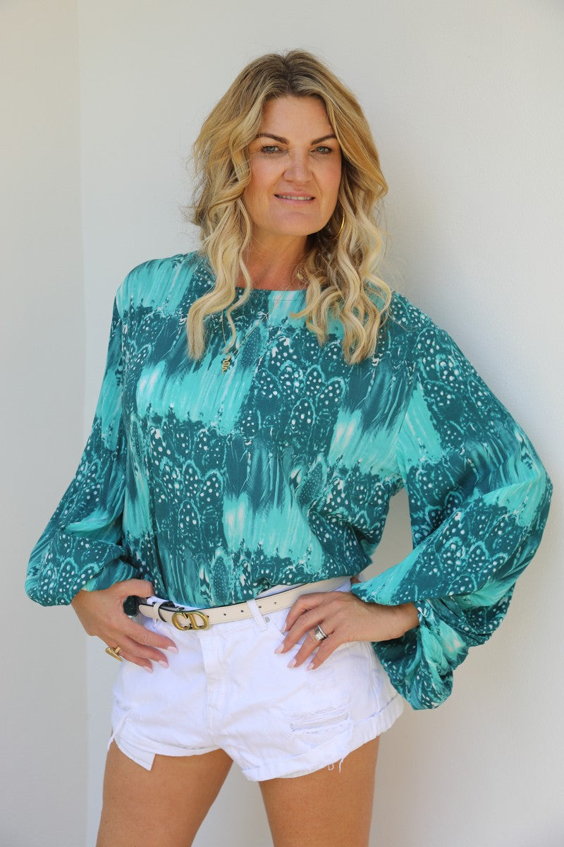 Bell Sleeve Belle Top - Gorgeous Green Feather
