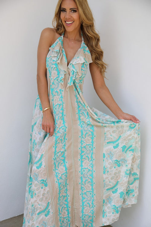 Frill Neck Dress - Mint Green Stork