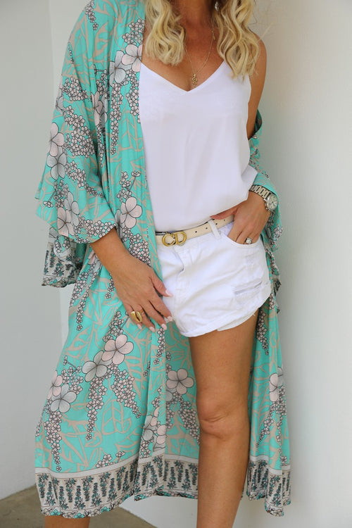 Wing Woman Kimono - Summer Turquoise