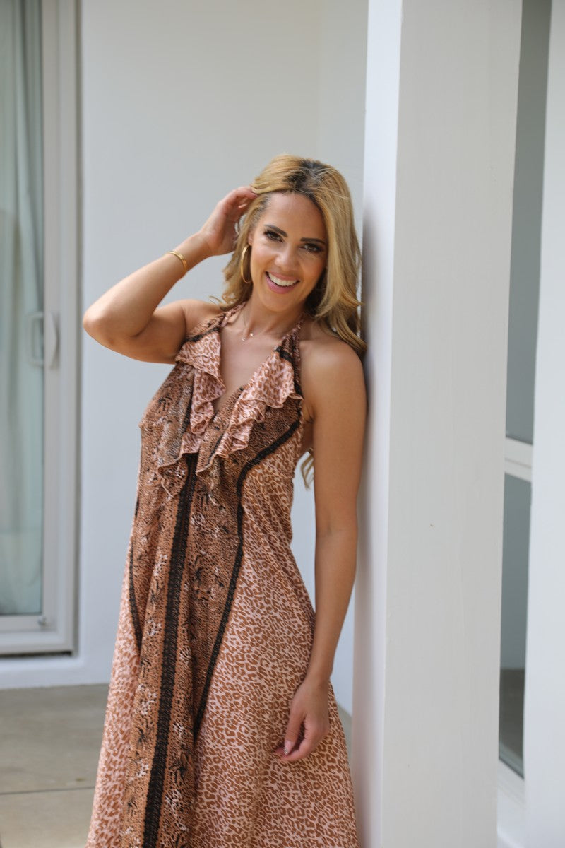 Frill Neck Dress - Glam Leopard