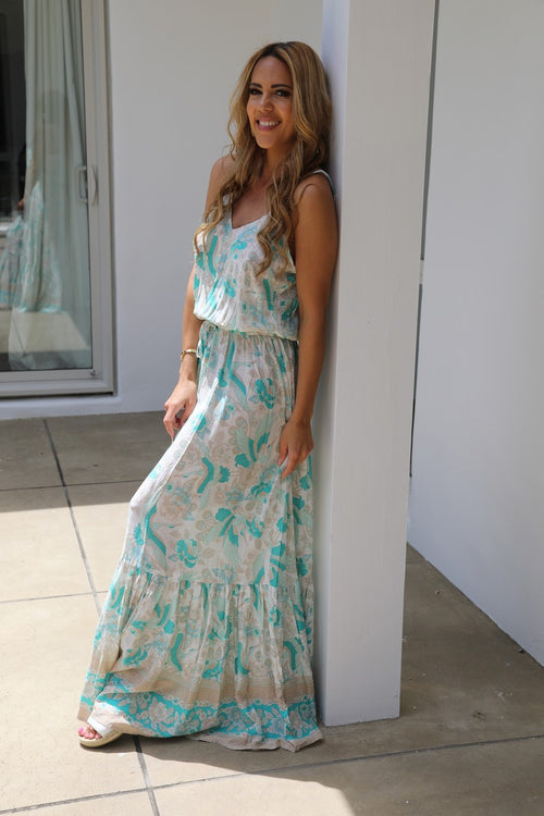 Shoestring Sandy Maxi Dress - Mint Green Stork