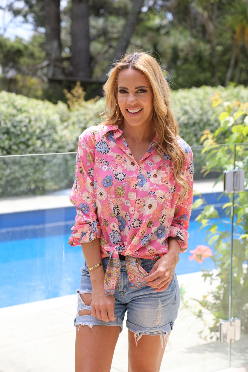 Freida Pocket Shirt - Prettiest Pink