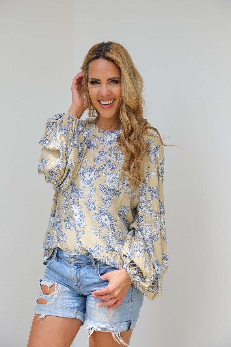 Bell Sleeve Belle Top - Taupe & Navy
