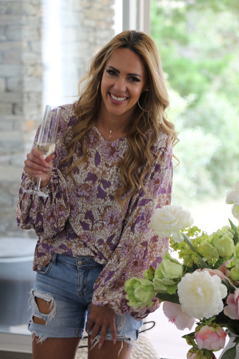 Bell Sleeve Belle Top - Purple Floral