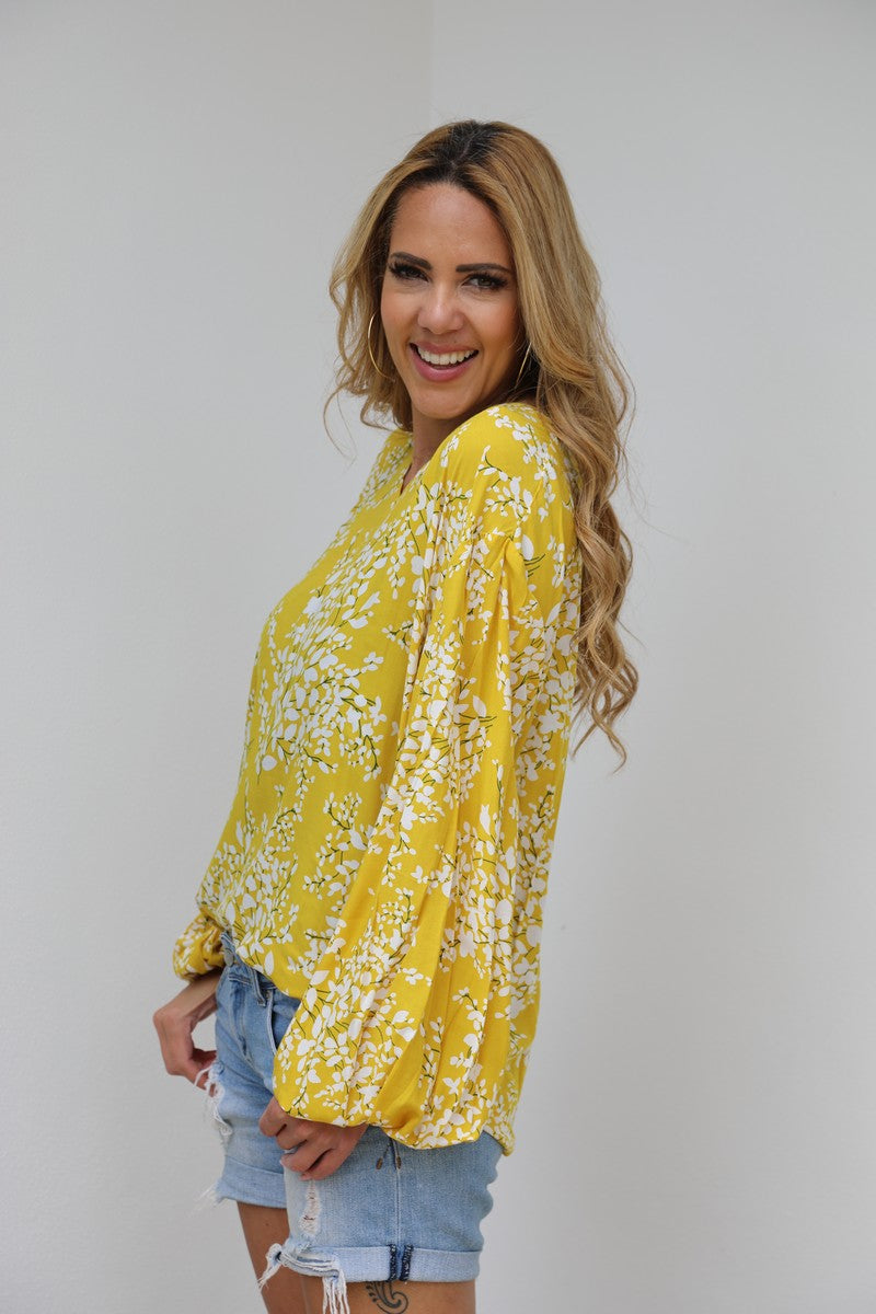 Bell Sleeve Belle Top - Yellow Blossom