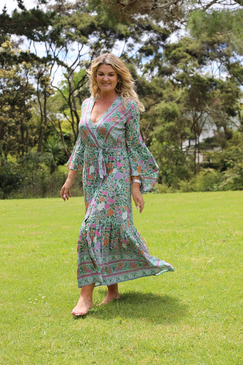 Wing Woman  Maxi Dress - Gorgeous Green Floral