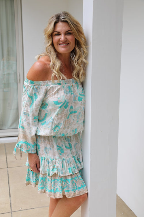 Little Frill Dress - Mint Green Stork