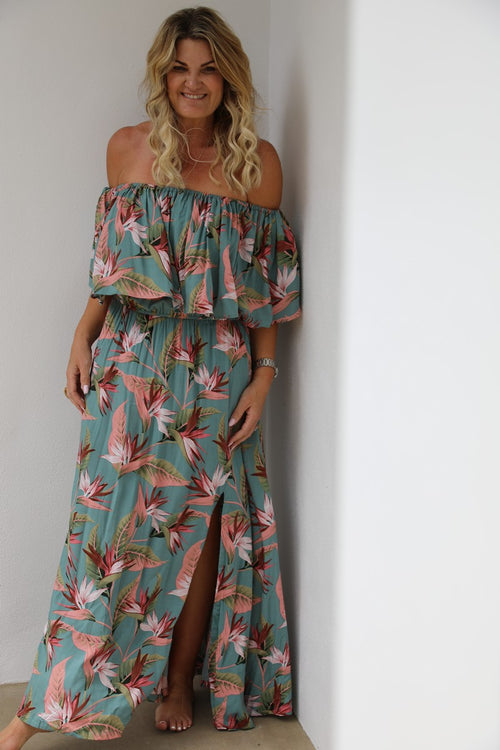 Tropical Frill Dress - Green & Prink Paradise Print