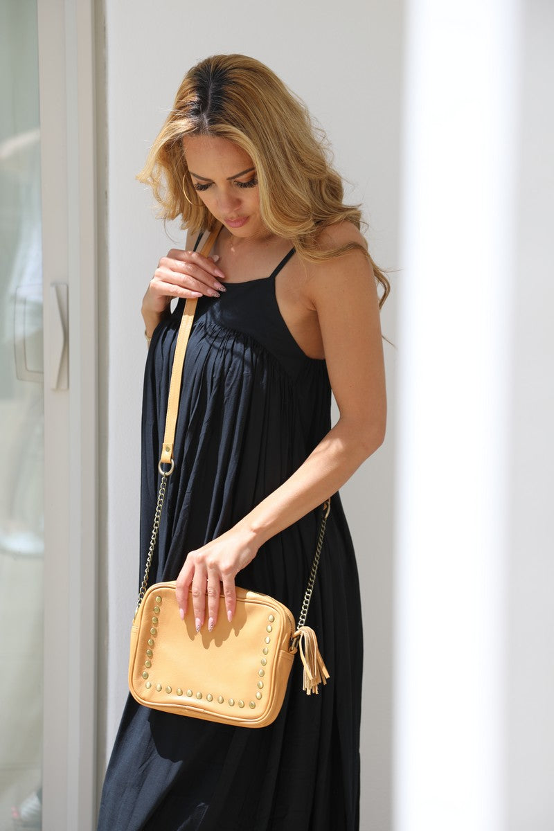 Cross body stud and chain bag - Light Tan Leather