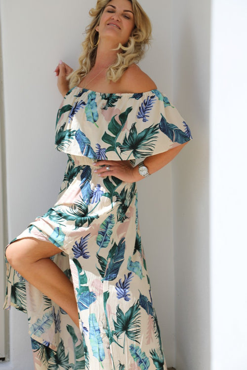 Tropical Frill Dress -  Tropical Palm Print
