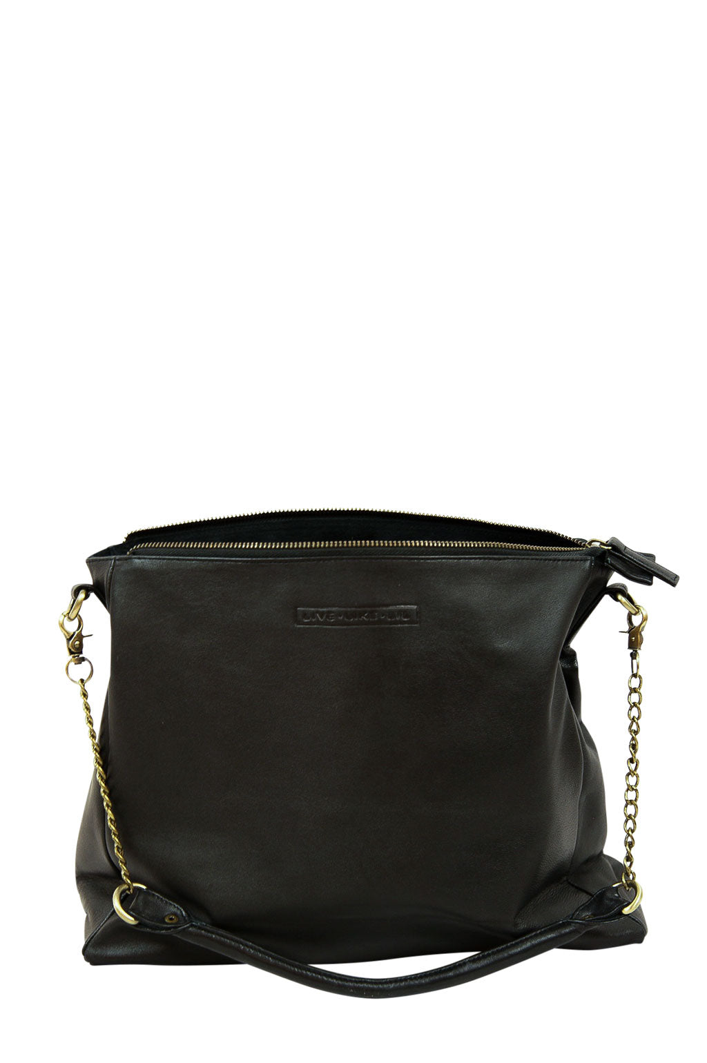 Ava Black Leather Strap Down Back
