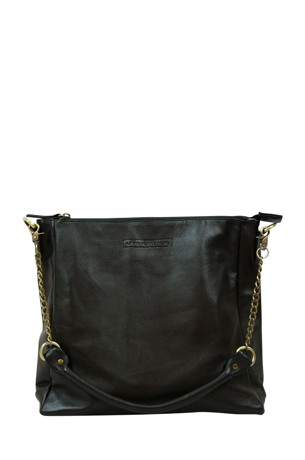 Ava Black Leather Strap Down Front
