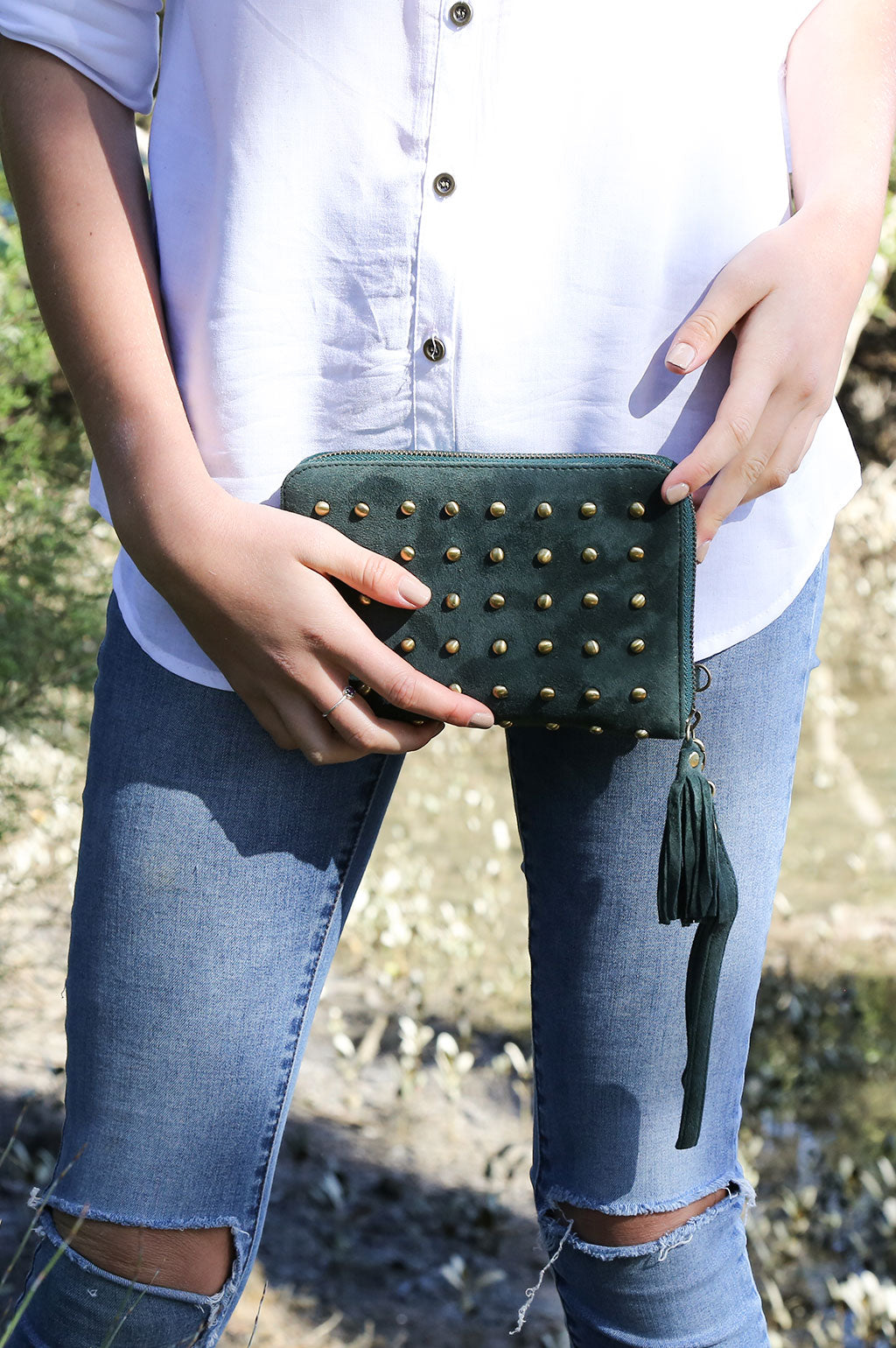 Belle Suede Studded Emerald Green Lifestyle