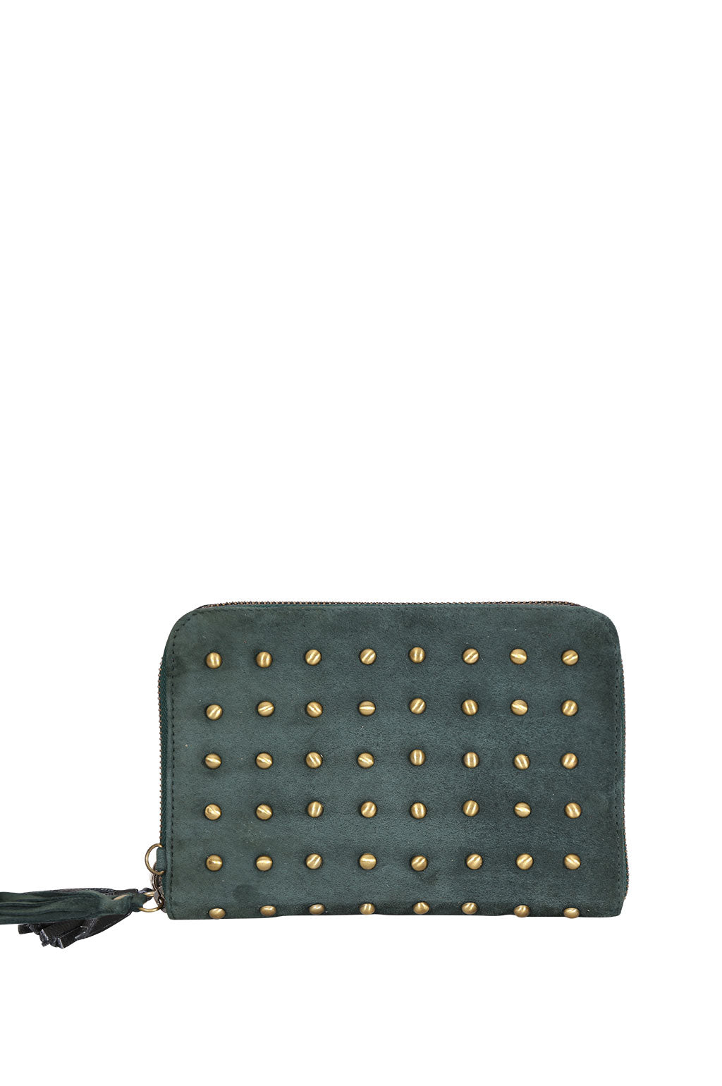 Belle Suede Studded Emerald Green