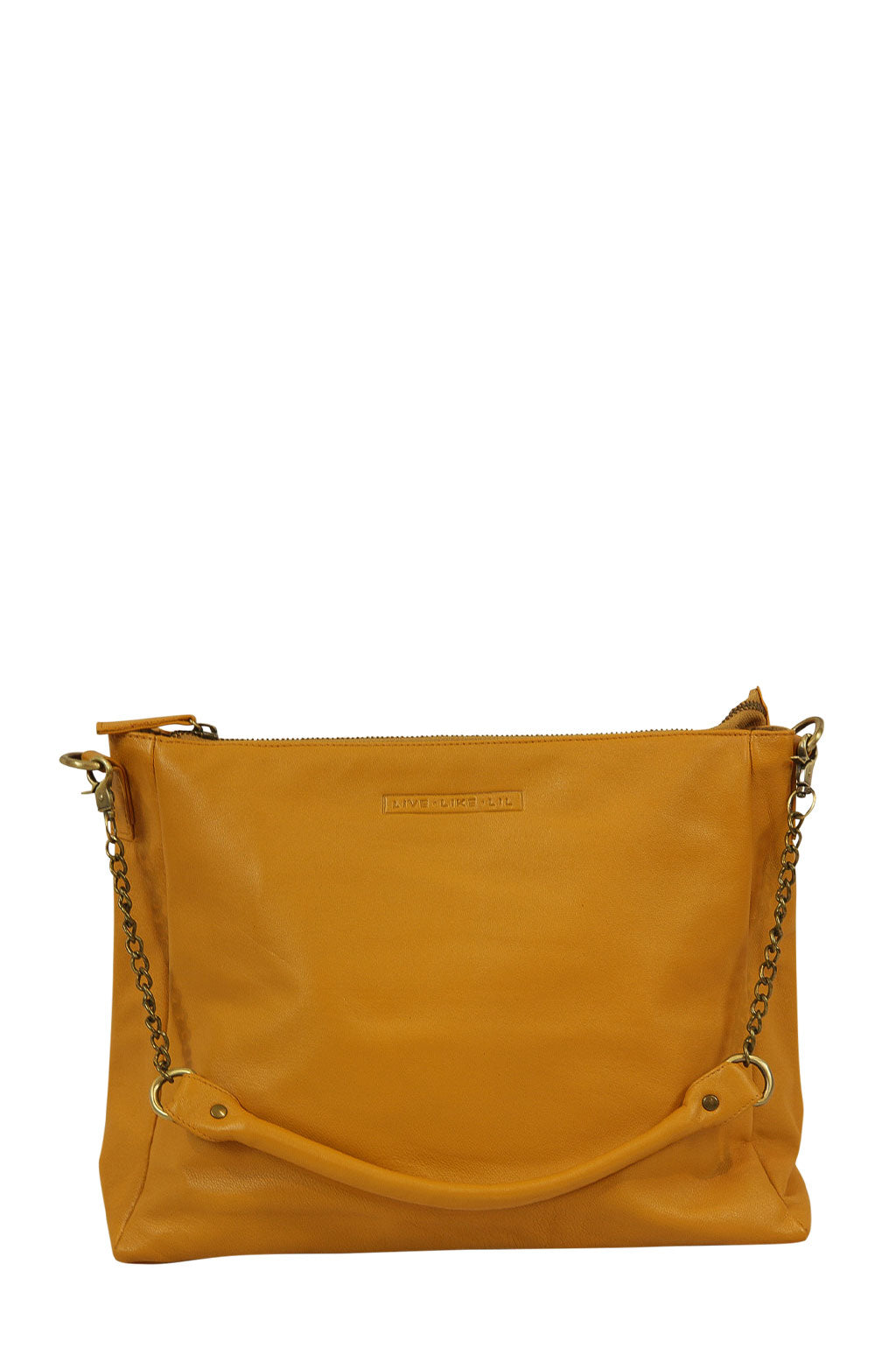 Celia Mustard Leather Strap Down Front