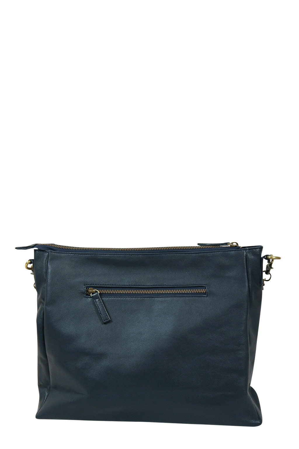 Celia Navy Leather Strap Down Back