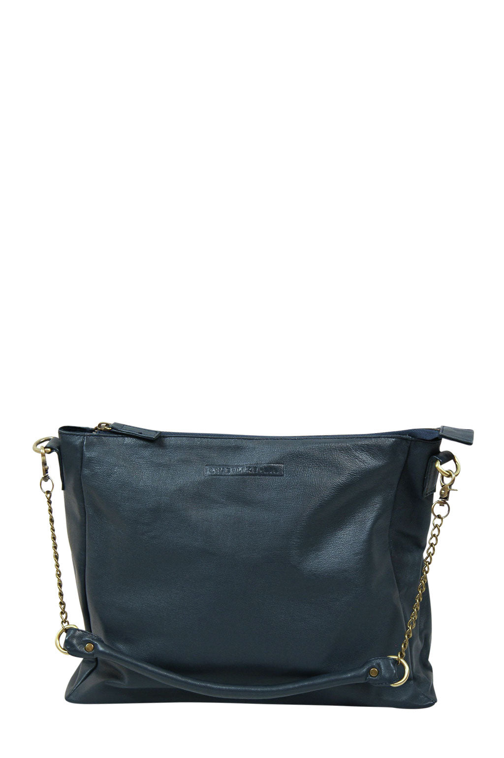 Celia Navy Leather Strap Down Front