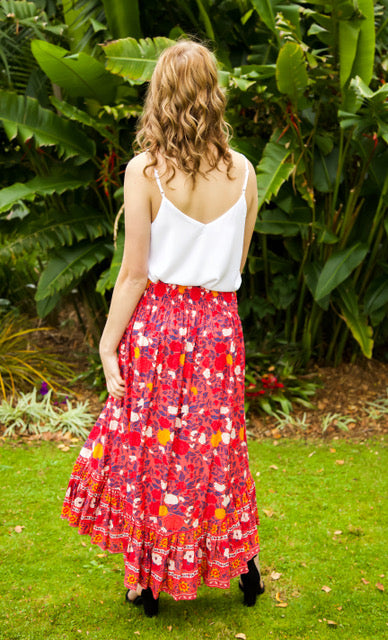 Float my Boat Skirt - Dark Pink, Red & Navy Floral