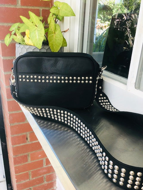 Lil Stud Bag - Black leather with Silver Studs