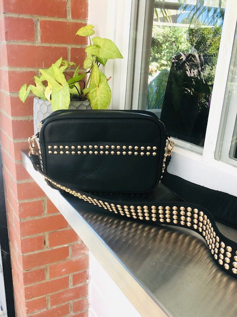 Lil Stud Bag - Black leather with Rose Gold Studs