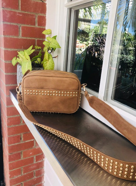 Lil Stud Bag - Tan leather with Rose Gold Studs