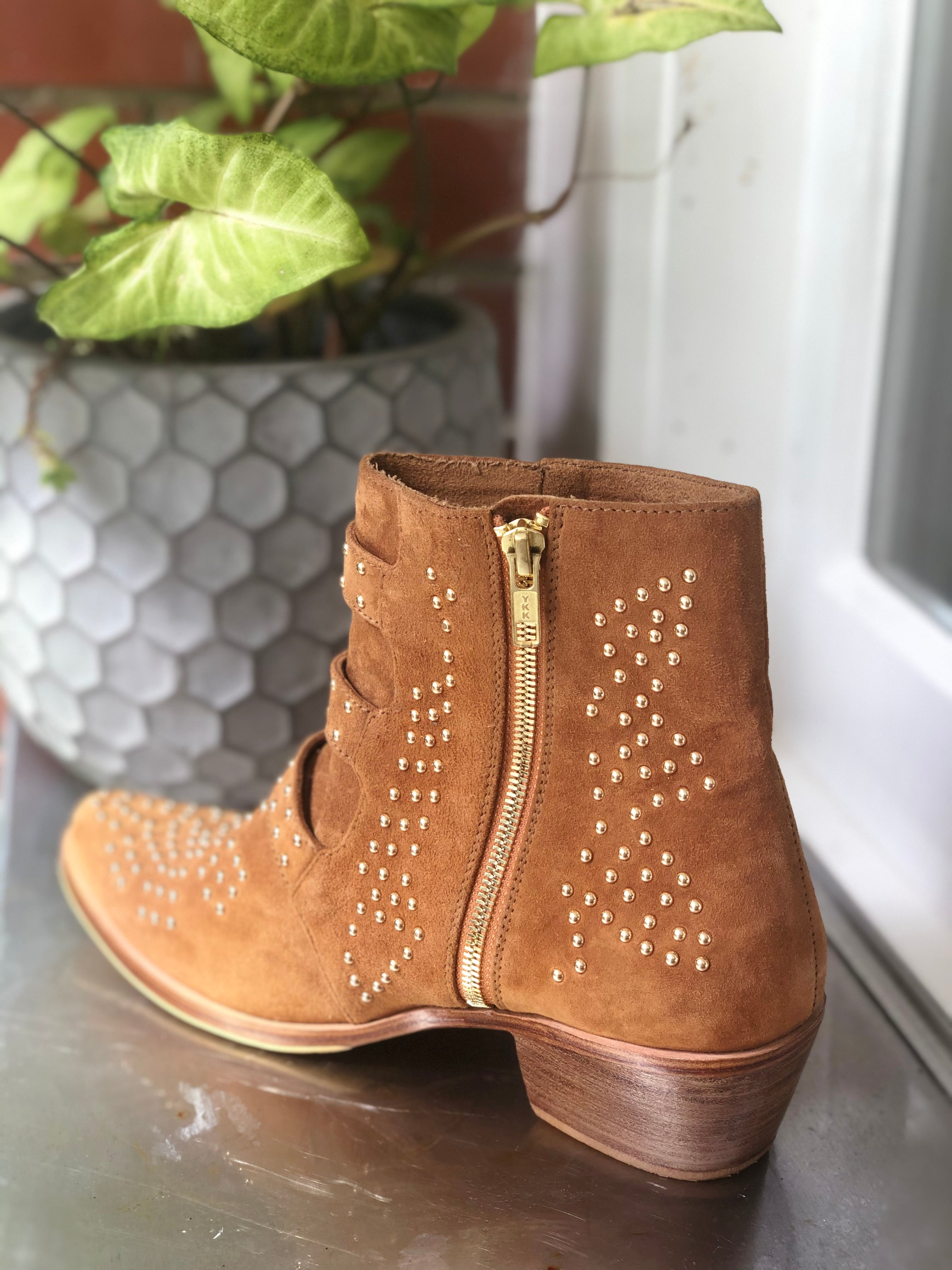 Star Boot  - Tan Suede & Gold - 3 Buckle