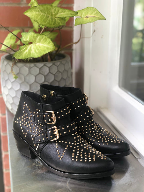 Star Boot  - Black & Gold  - 2 Buckle