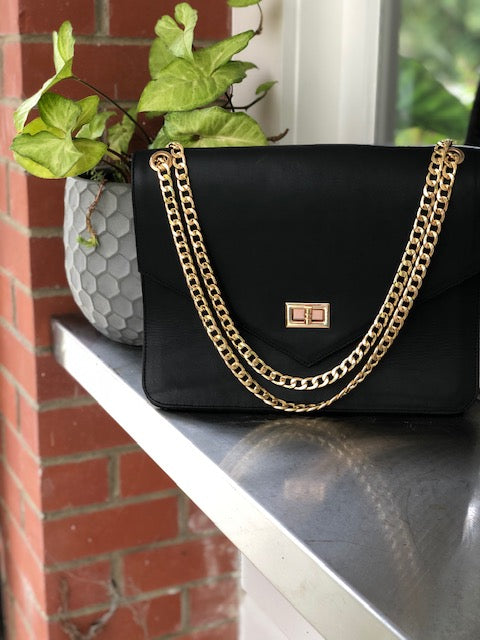 Lil Chain Bag - Black leather with Gold Chain