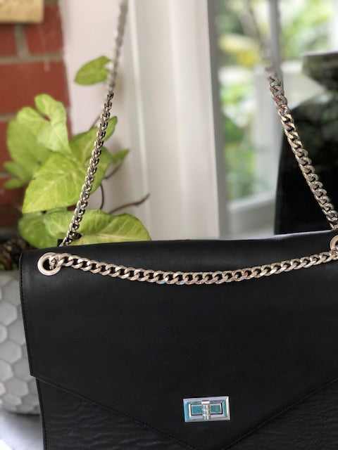 Chain Bag - Black leather with Silver Chain