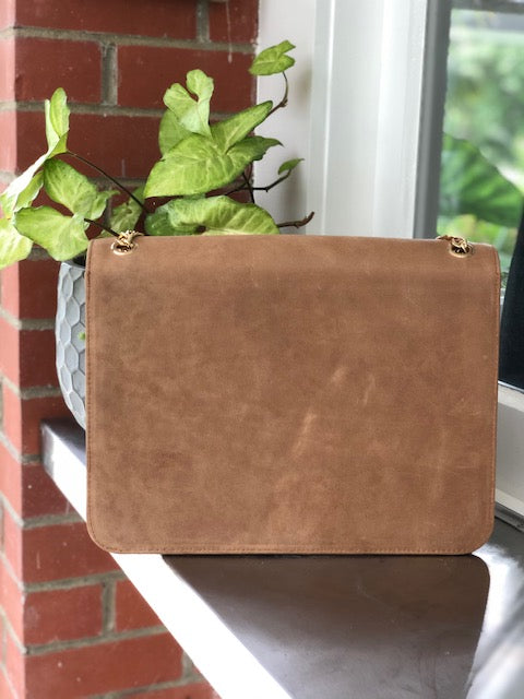 Chain Bag - Tan leather with Gold Chain