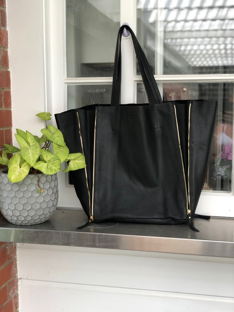 Large Super Tote - Black Leather with Silver