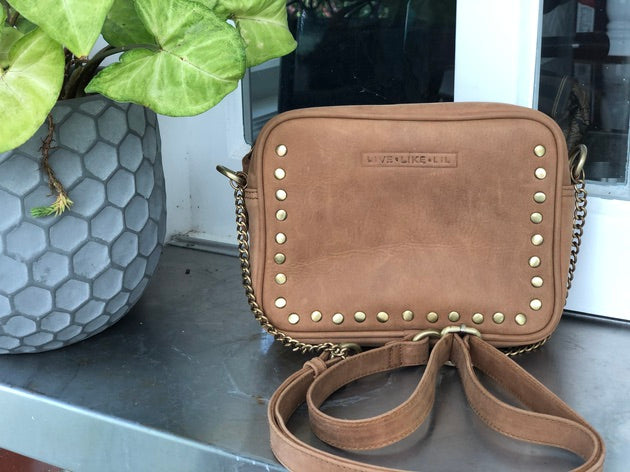 Cross body stud and chain bag - Tan Leather