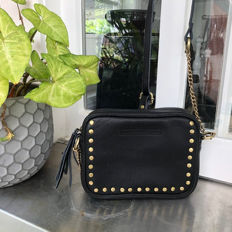Cross body stud and chain bag - Black Leather