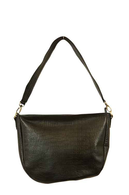 Nancy Black Croc Leather Front