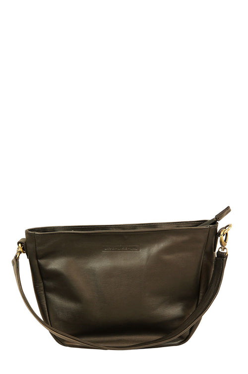 Nancy Black Leather Strap Down Front