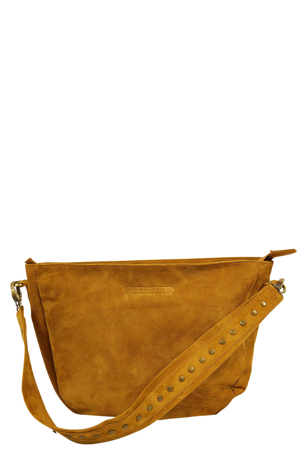 Nancy Tan Suede with Studded Strap Down Front
