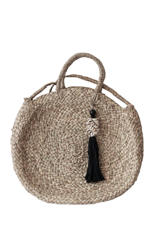 Strapping Beach Bag Black Shell Tassel