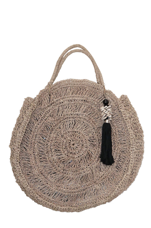 Summer Beach Bag Black Shell Tassel