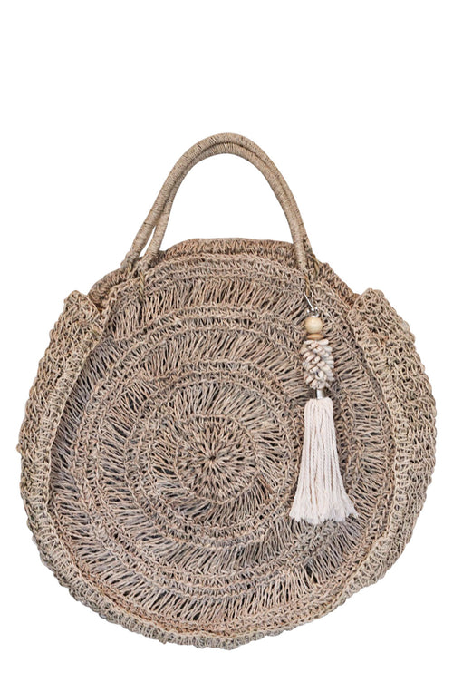 Summer Beach Bag White Shell Tassel