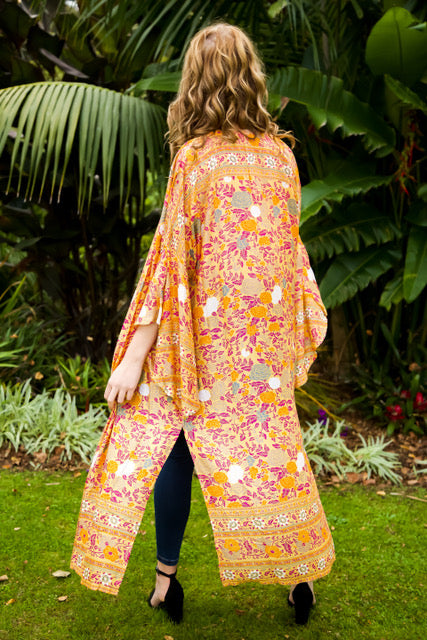 Wing Woman Kimono - Mustard, Orange & Dark Pink Floral