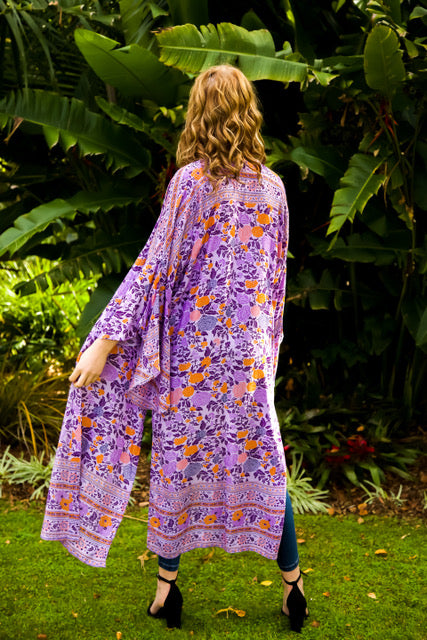 Wing Woman Kimono - Purple and Orange Floral