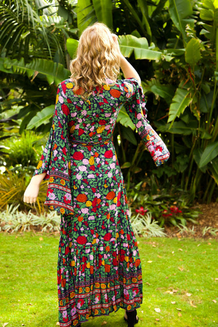 Wing Woman  Maxi Dress - Dark Navy floral