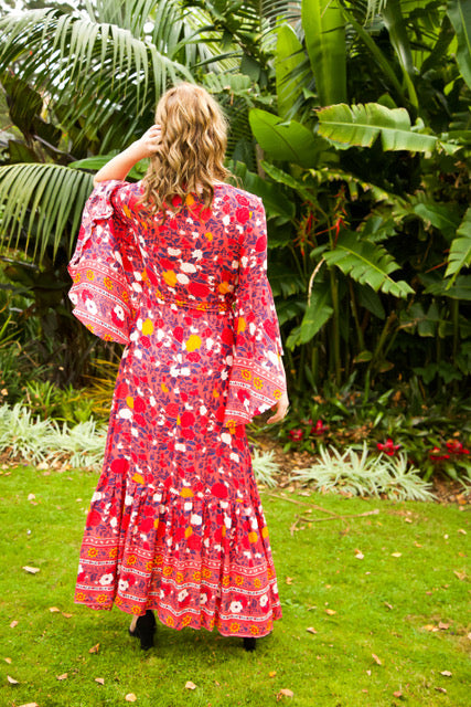 Wing Woman - Maxi Dress - Dark Pink, Red & Navy Floral