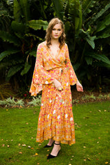 Wing Woman Maxi Dress - Mustard, Orange & Dark Pink Floral