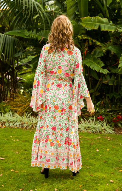 Wing Woman Maxi Dress - White & Green Floral