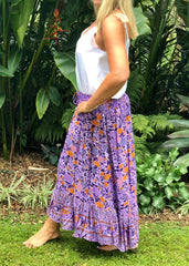 Float my Boat Skirt - Purple and Orange Floral