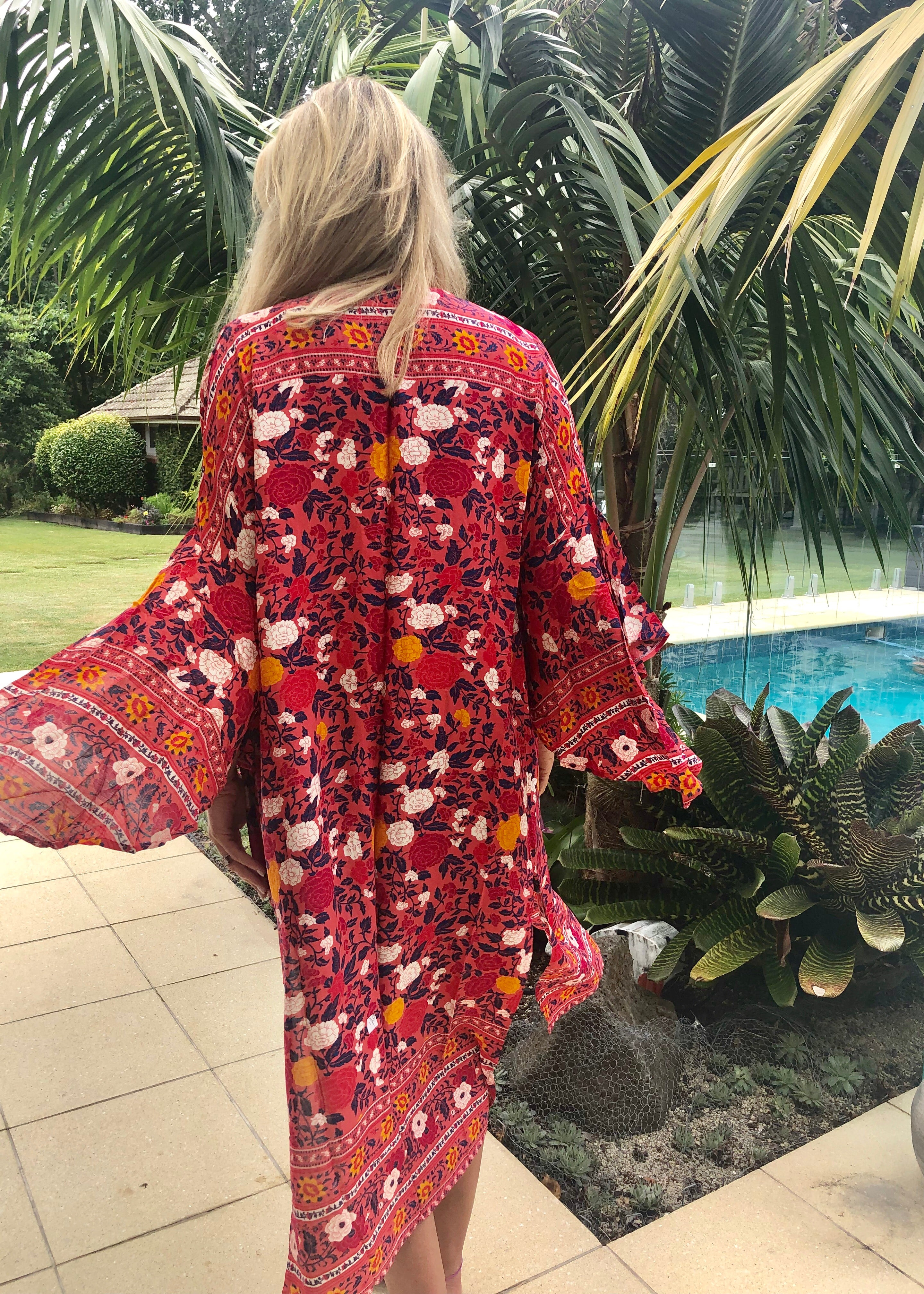 Wing Woman Kimono - Dark Pink, Red & Navy Floral