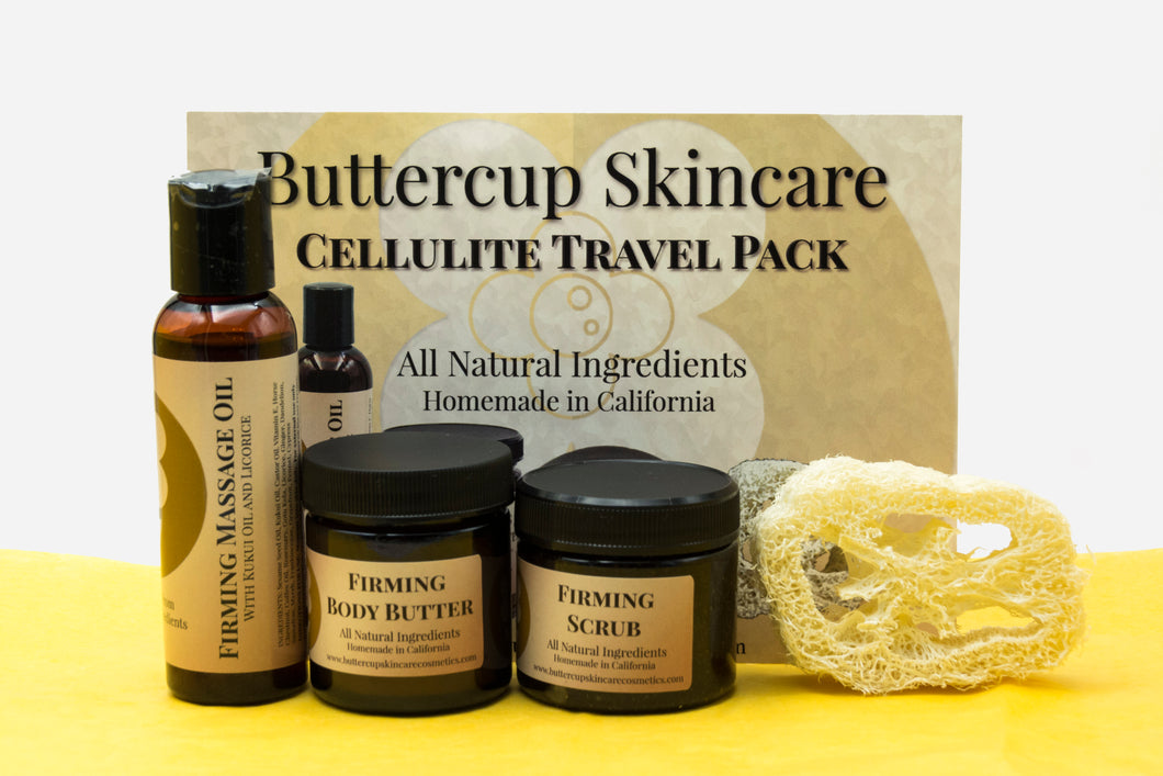 Cellulite travel pack, Firming Body Butter, Massage oil, Coffee scrub in a hemp toiletry bag