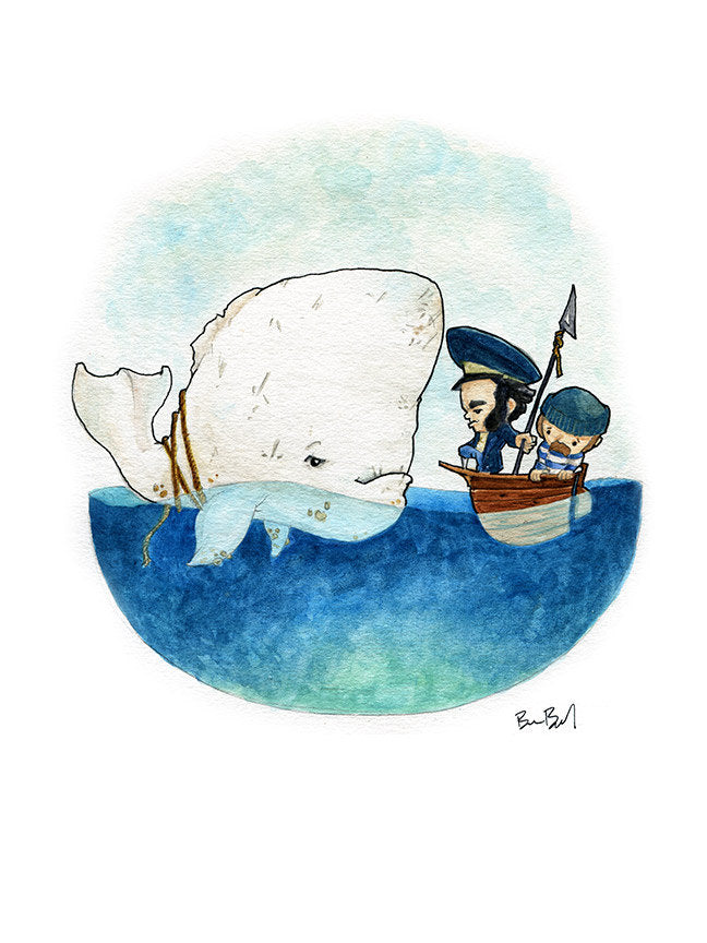 Moby Dick Watercolor Print
